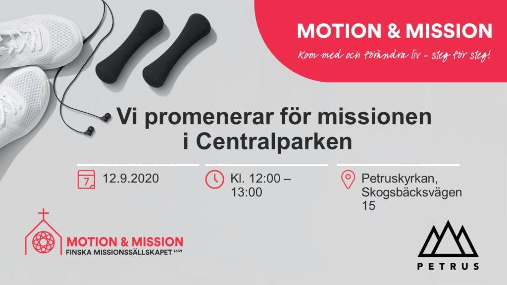 Motion och Mission 12.9 kl. 12 vid Peruskyrkan